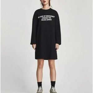 Zara Cotton Long Sleeves Sweatshirts Mini Dress